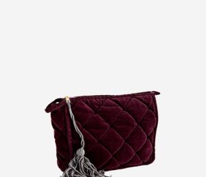 quilted velour clutch aubergine